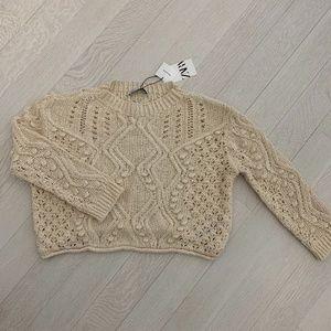 Crochet knit cotton sweater